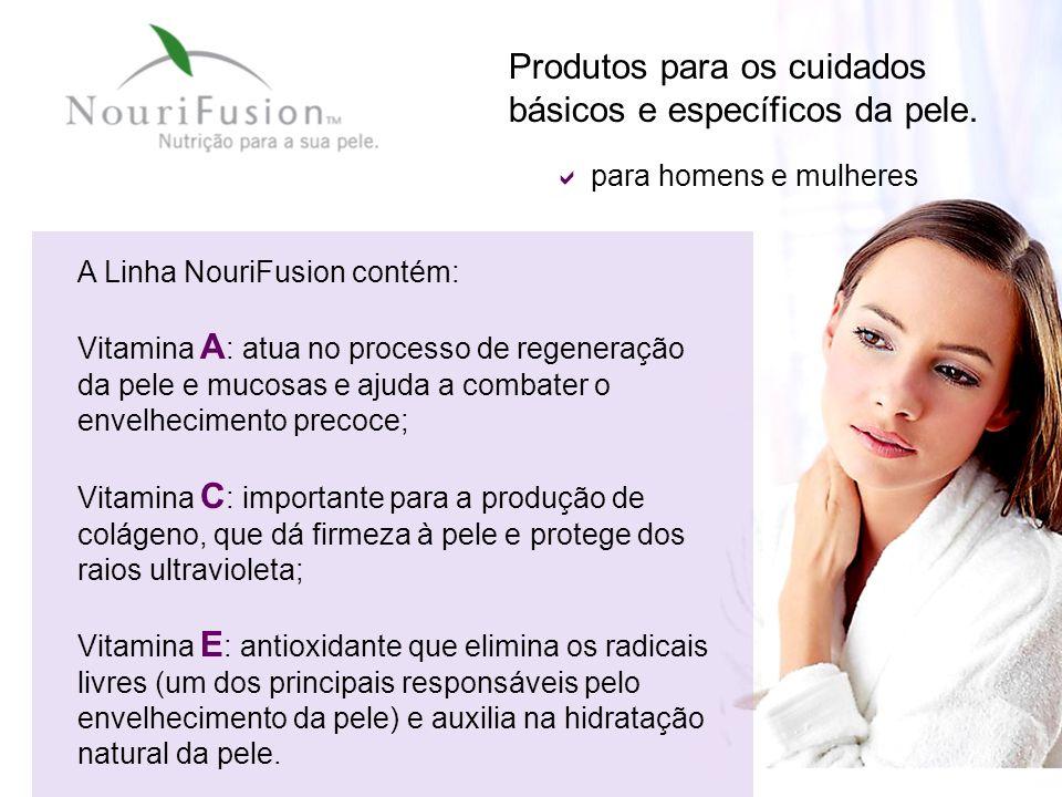 Produtos para os cuidados básicos e específicos da pele. A Linha NouriFusion contém: Vitamina A : atua no processo de regeneração da pele e mucosas e