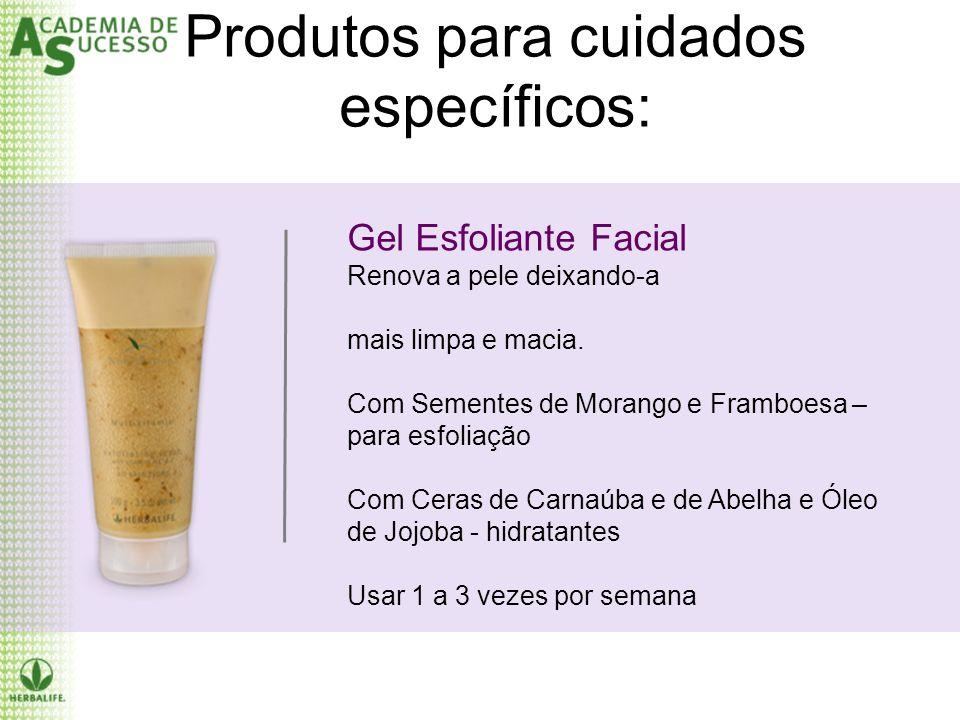 Produtos para cuidados específicos: Gel Esfoliante Facial Renova a pele deixando-a mais limpa e macia. Com Sementes de Morango e Framboesa – para esfo