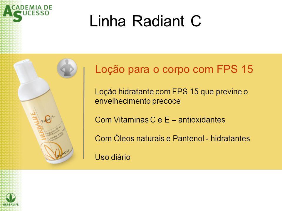 Loção para o corpo com FPS 15 Loção hidratante com FPS 15 que previne o envelhecimento precoce Com Vitaminas C e E – antioxidantes Com Óleos naturais