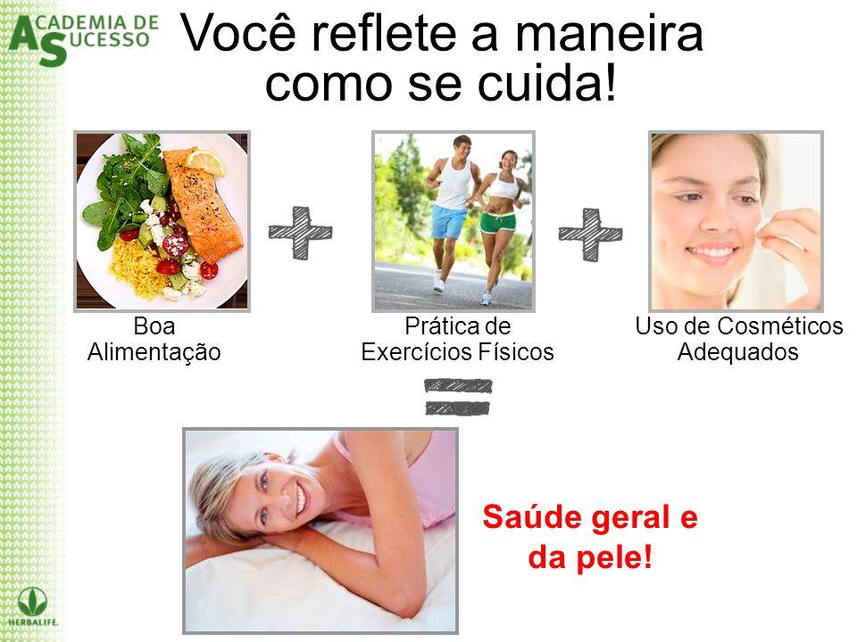 Boa Alimentação Prática de Exercícios Físicos Uso de Cosméticos Adequados Saúde geral e da pele!