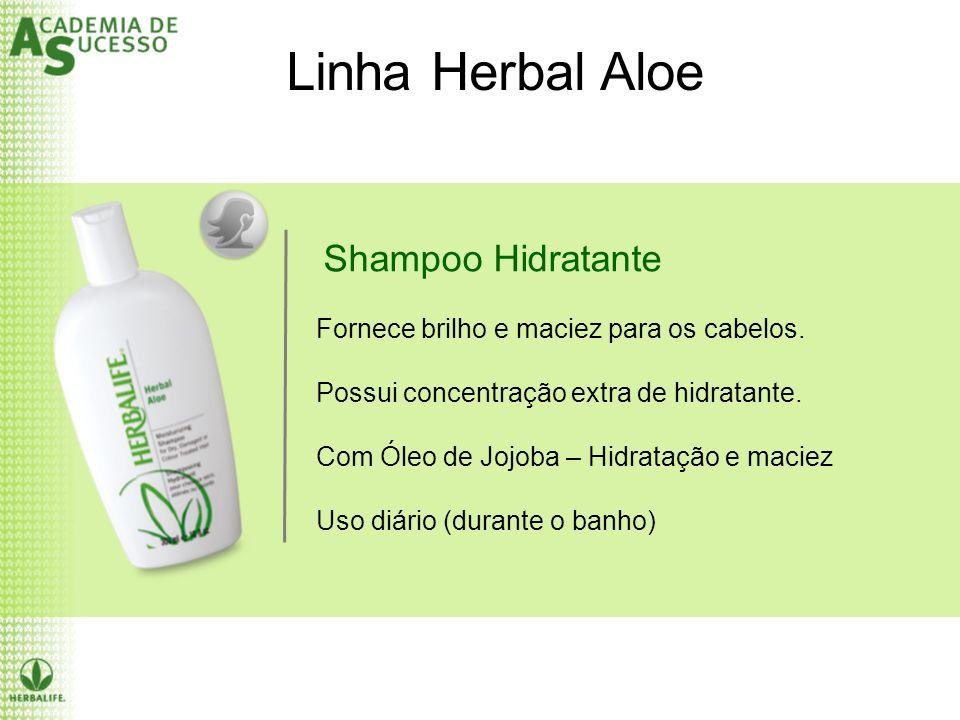Shampoo Hidratante Linha Herbal Aloe Fornece brilho e maciez para os cabelos. Possui concentração extra de hidratante. Com Óleo de Jojoba – Hidratação