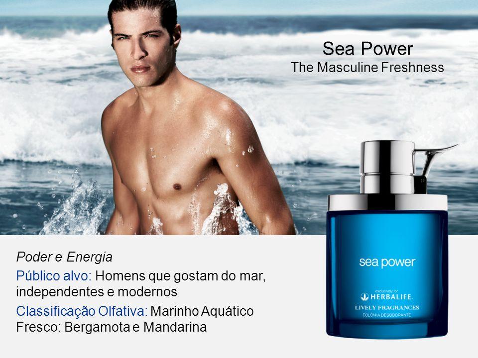 Poder e Energia Público alvo: Homens que gostam do mar, independentes e modernos Classificação Olfativa: Marinho Aquático Fresco: Bergamota e Mandarin
