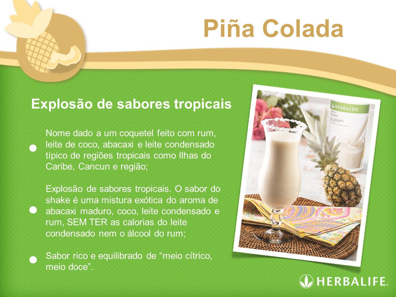 Explosão de sabores tropicais Piña Colada Nome dado a um coquetel feito com rum, leite de coco, abacaxi e leite condensado típico de regiões tropicais