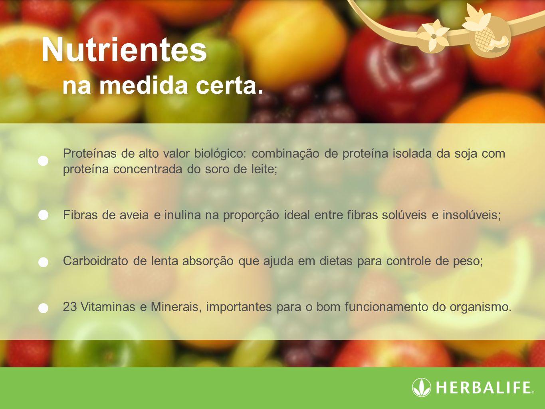 Nutrientes na medida certa. Nutrientes na medida certa. Proteínas de alto valor biológico: combinação de proteína isolada da soja com proteína concent