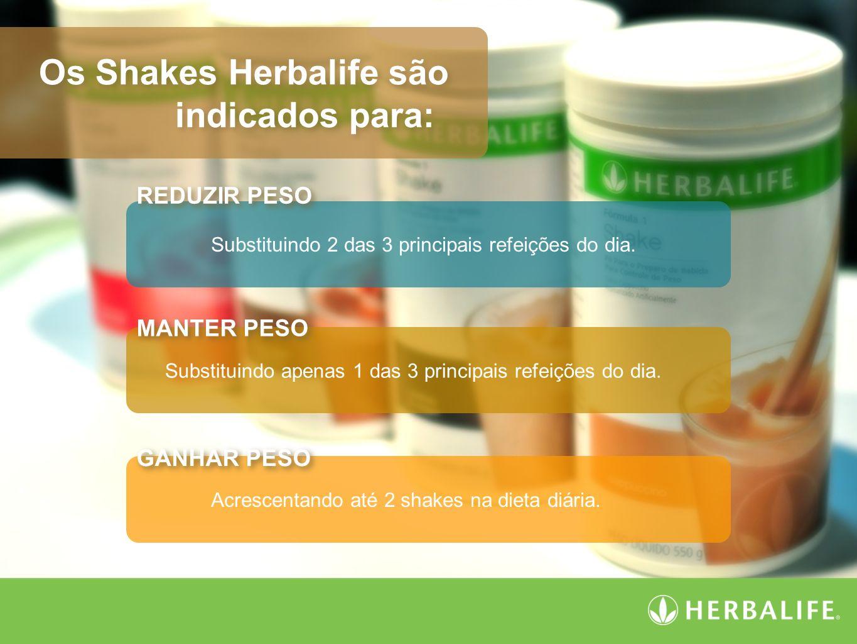 Os Shakes Herbalife são indicados para: Os Shakes Herbalife são indicados para: Substituindo 2 das 3 principais refeições do dia. Substituindo apenas