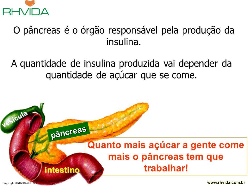 Copyright © RHVIDA S/C Ltda. www.rhvida.com.br Copyright © RHVIDA S/C Ltda. www.rhvida.com.br pâncreas intestino vesícula Quanto mais açúcar a gente c
