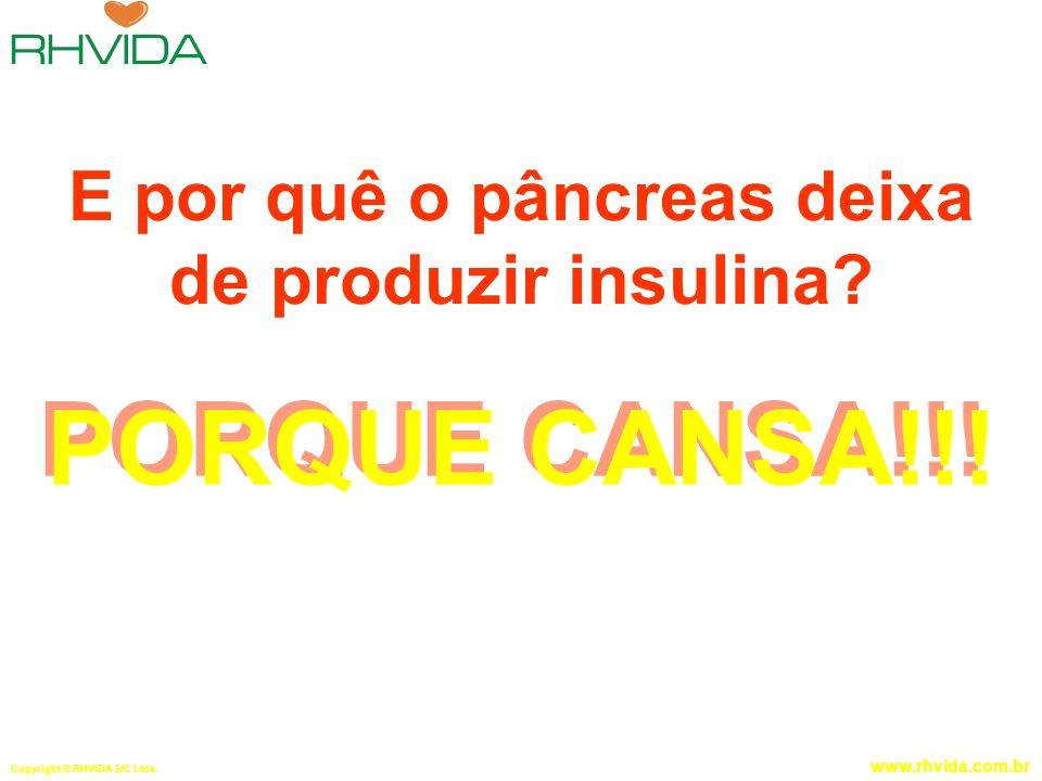 Copyright © RHVIDA S/C Ltda. www.rhvida.com.br E por quê o pâncreas deixa de produzir insulina? PORQUE CANSA!!!