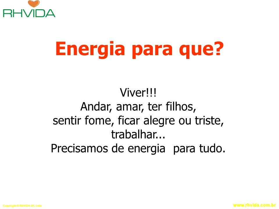 Copyright © RHVIDA S/C Ltda. www.rhvida.com.br Energia para que? Viver!!! Andar, amar, ter filhos, sentir fome, ficar alegre ou triste, trabalhar... P