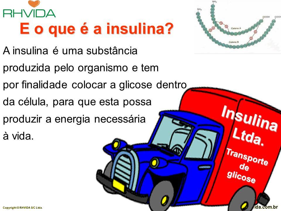 Copyright © RHVIDA S/C Ltda. www.rhvida.com.br A insulina é uma substância produzida pelo organismo e tem por finalidade colocar a glicose dentro da c