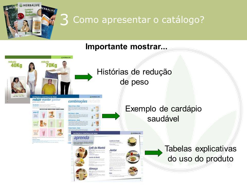 Importante mostrar... Histórias de redução de peso Exemplo de cardápio saudável Tabelas explicativas do uso do produto 3 Como apresentar o catálogo?