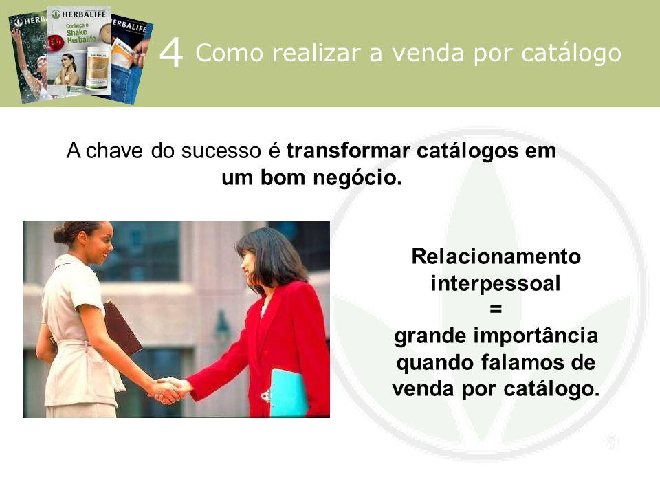 4 Como realizar a venda por catálogo Relacionamento interpessoal = grande importância quando falamos de venda por catálogo. A chave do sucesso é trans