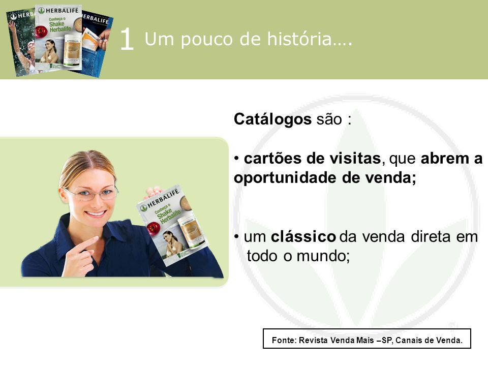 1 Um pouco de história…. Catálogos são : cartões de visitas, que abrem a oportunidade de venda; um clássico da venda direta em todo o mundo; Fonte: Re