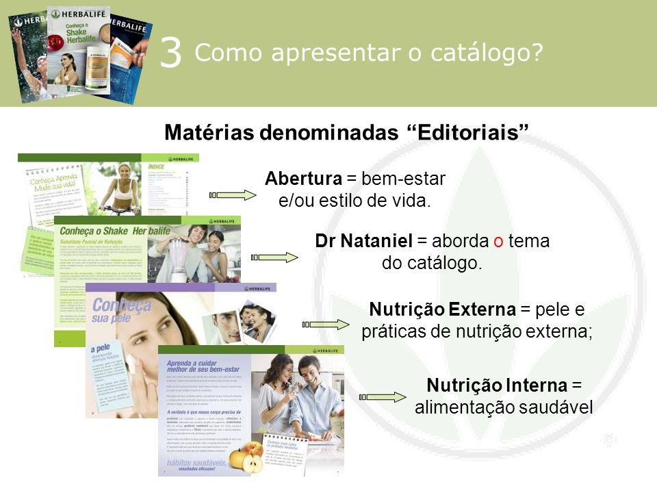 Matérias denominadas Editoriais Abertura = bem-estar e/ou estilo de vida. Dr Nataniel = aborda o tema do catálogo. Nutrição Interna = alimentação saud