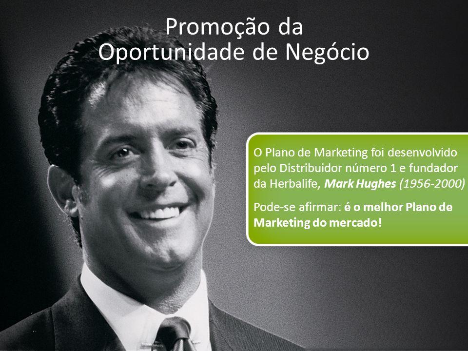 12 Promoção da Oportunidade de Negócio O Plano de Marketing foi desenvolvido pelo Distribuidor número 1 e fundador da Herbalife, Mark Hughes (1956-200