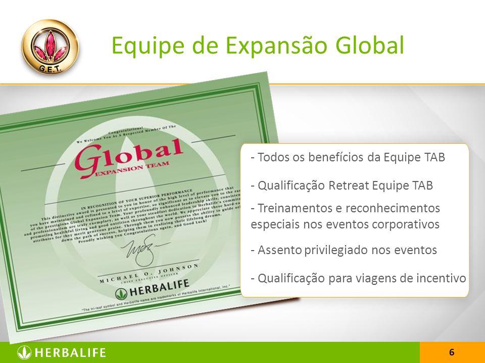 6 Equipe de Expansão Global - Todos os benefícios da Equipe TAB - Qualificação Retreat Equipe TAB - Treinamentos e reconhecimentos especiais nos event