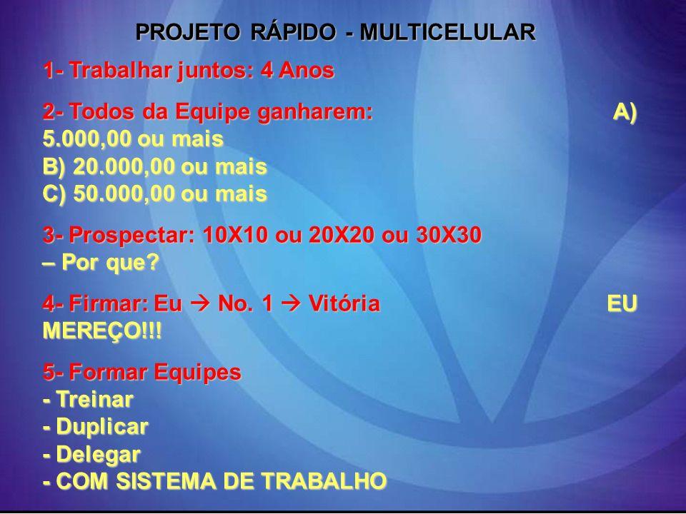 PROJETO RÁPIDO - MULTICELULAR 1- Trabalhar juntos: 4 Anos 2- Todos da Equipe ganharem: A) 5.000,00 ou mais B) 20.000,00 ou mais C) 50.000,00 ou mais 3