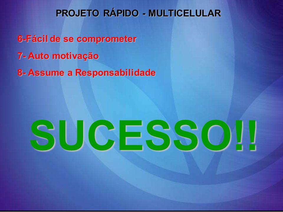 PROJETO RÁPIDO - MULTICELULAR 6-Fácil de se comprometer 7- Auto motivação 8- Assume a Responsabilidade SUCESSO!!