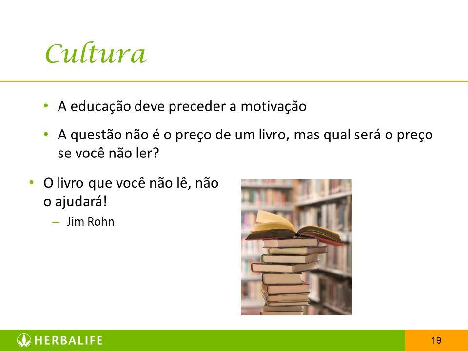 19 Cultura A educação deve preceder a motivação A questão não é o preço de um livro, mas qual será o preço se você não ler? O livro que você não lê, n