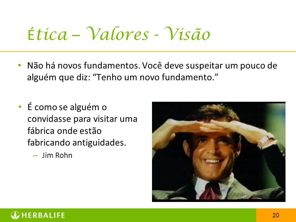20 É tica – Valores - Visão Não há novos fundamentos. Você deve suspeitar um pouco de alguém que diz: Tenho um novo fundamento. É como se alguém o con