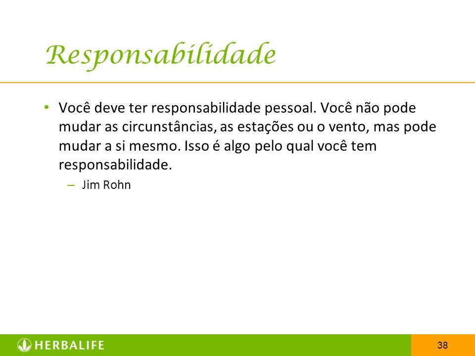 38 Responsabilidade Você deve ter responsabilidade pessoal. Você não pode mudar as circunstâncias, as estações ou o vento, mas pode mudar a si mesmo.