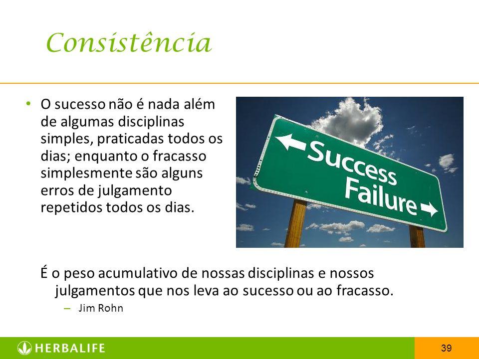 39 O sucesso não é nada além de algumas disciplinas simples, praticadas todos os dias; enquanto o fracasso simplesmente são alguns erros de julgamento