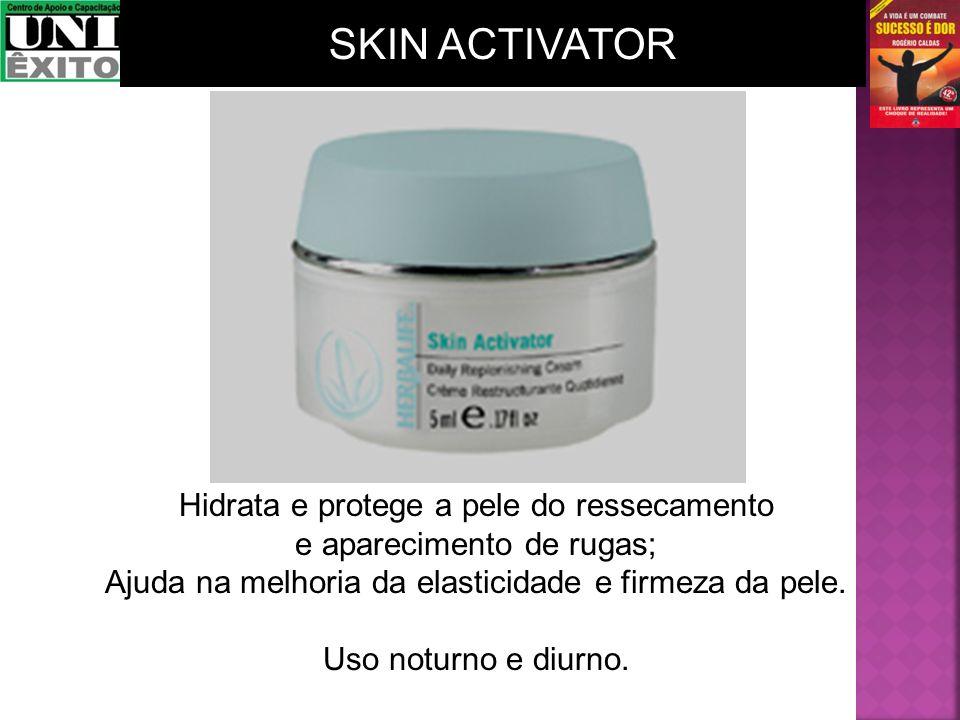Hidrata e protege a pele do ressecamento e aparecimento de rugas; Ajuda na melhoria da elasticidade e firmeza da pele. Uso noturno e diurno. SKIN ACTI