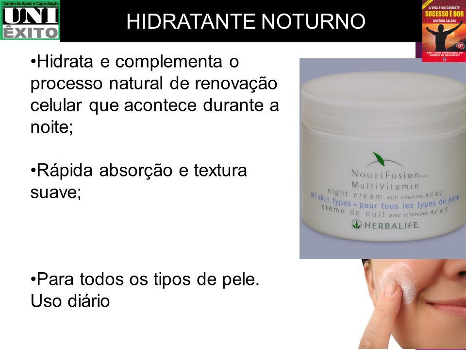 Hidrata e complementa o processo natural de renovação celular que acontece durante a noite; Rápida absorção e textura suave; Para todos os tipos de pe