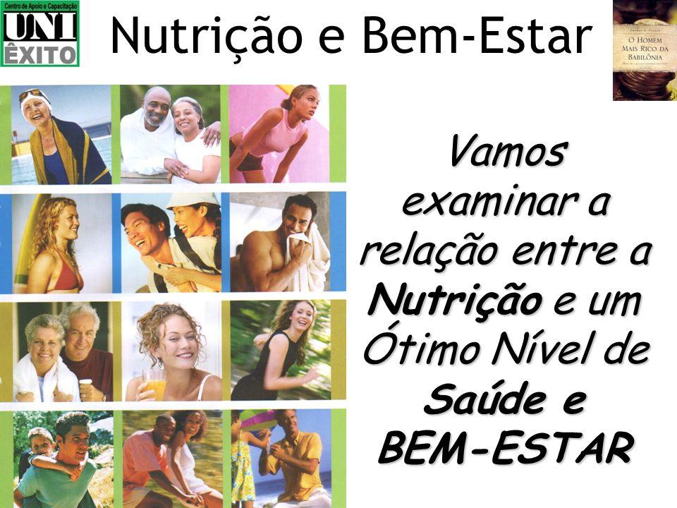 Vamos examinar a relação entre a Nutrição e um Ótimo Nível de Saúde e BEM-ESTAR Nutrição e Bem-Estar