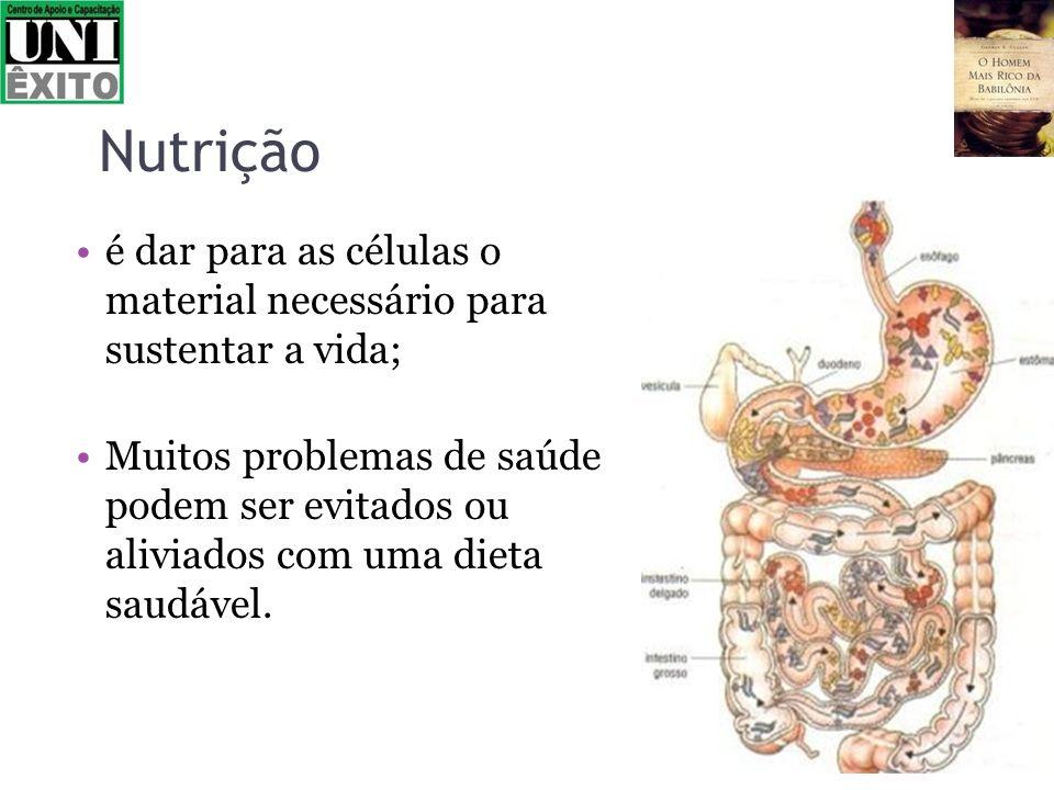 Nutrição é dar para as células o material necessário para sustentar a vida; Muitos problemas de saúde podem ser evitados ou aliviados com uma dieta sa