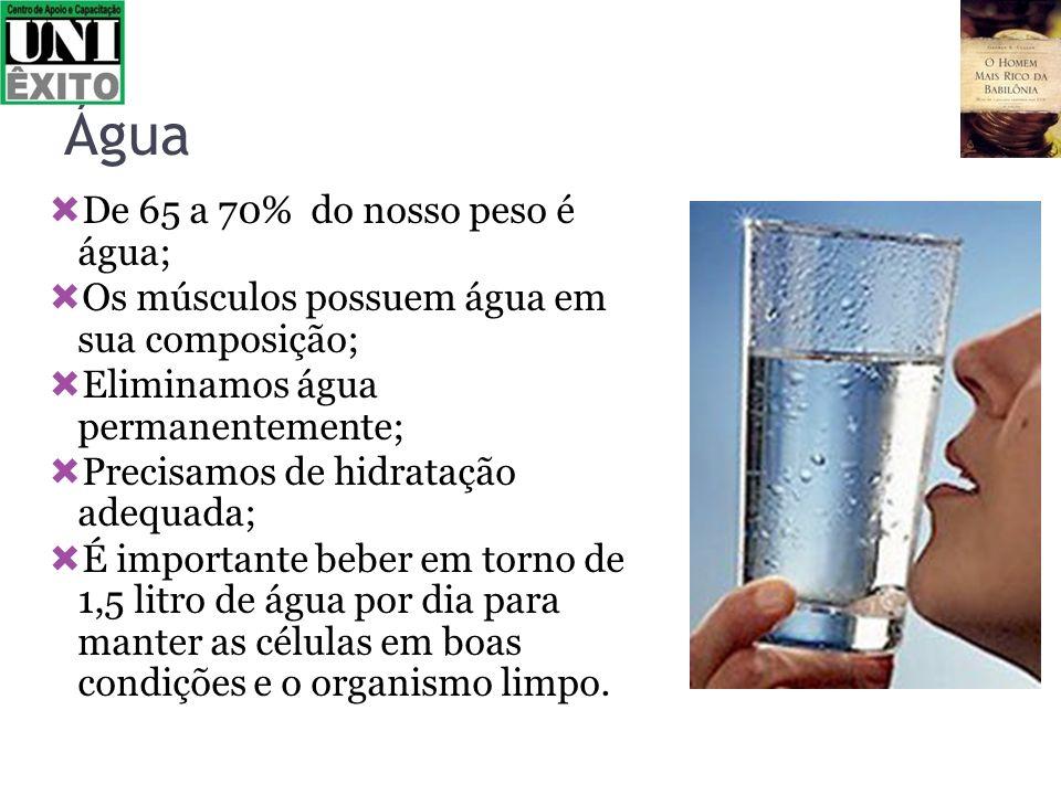 Água De 65 a 70% do nosso peso é água; Os músculos possuem água em sua composição; Eliminamos água permanentemente; Precisamos de hidratação adequada;