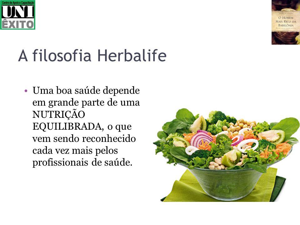 A filosofia Herbalife Uma boa saúde depende em grande parte de uma NUTRIÇÃO EQUILIBRADA, o que vem sendo reconhecido cada vez mais pelos profissionais