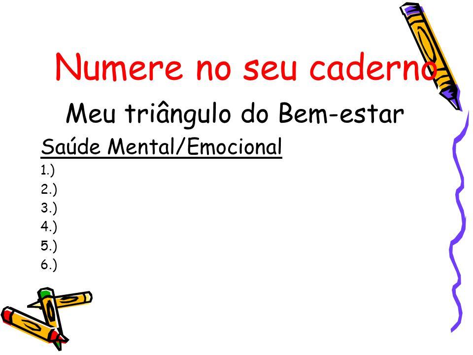 Numere no seu caderno Meu triângulo do Bem-estar Saúde Mental/Emocional 1.) 2.) 3.) 4.) 5.) 6.)