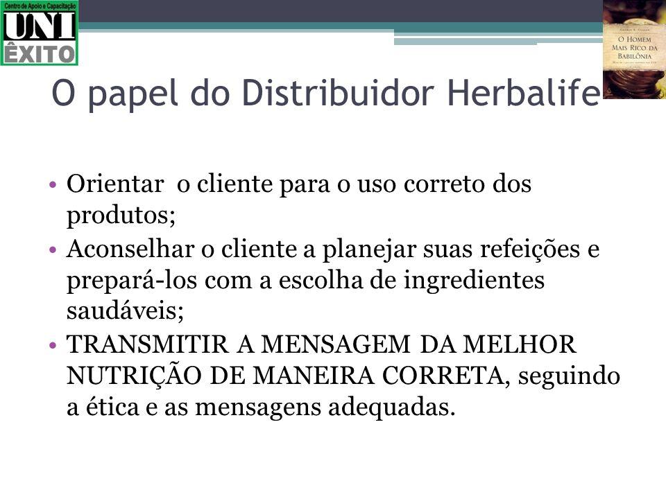 O papel do Distribuidor Herbalife Orientar o cliente para o uso correto dos produtos; Aconselhar o cliente a planejar suas refeições e prepará-los com