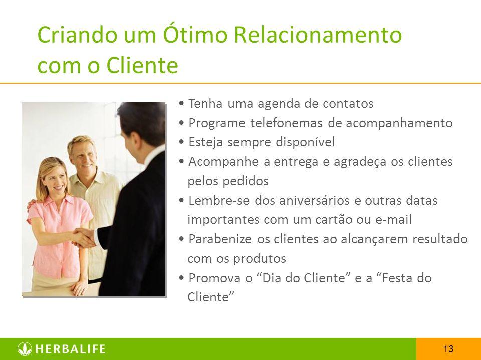 13 Criando um Ótimo Relacionamento com o Cliente Tenha uma agenda de contatos Programe telefonemas de acompanhamento Esteja sempre disponível Acompanh
