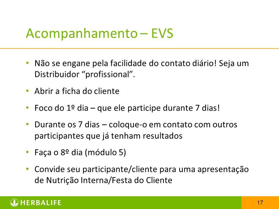17 Acompanhamento – EVS Não se engane pela facilidade do contato diário! Seja um Distribuidor profissional. Abrir a ficha do cliente Foco do 1º dia –