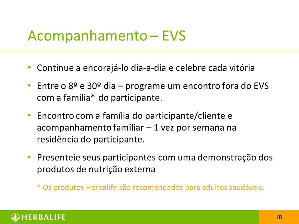 18 Acompanhamento – EVS Continue a encorajá-lo dia-a-dia e celebre cada vitória Entre o 8º e 30º dia – programe um encontro fora do EVS com a família*