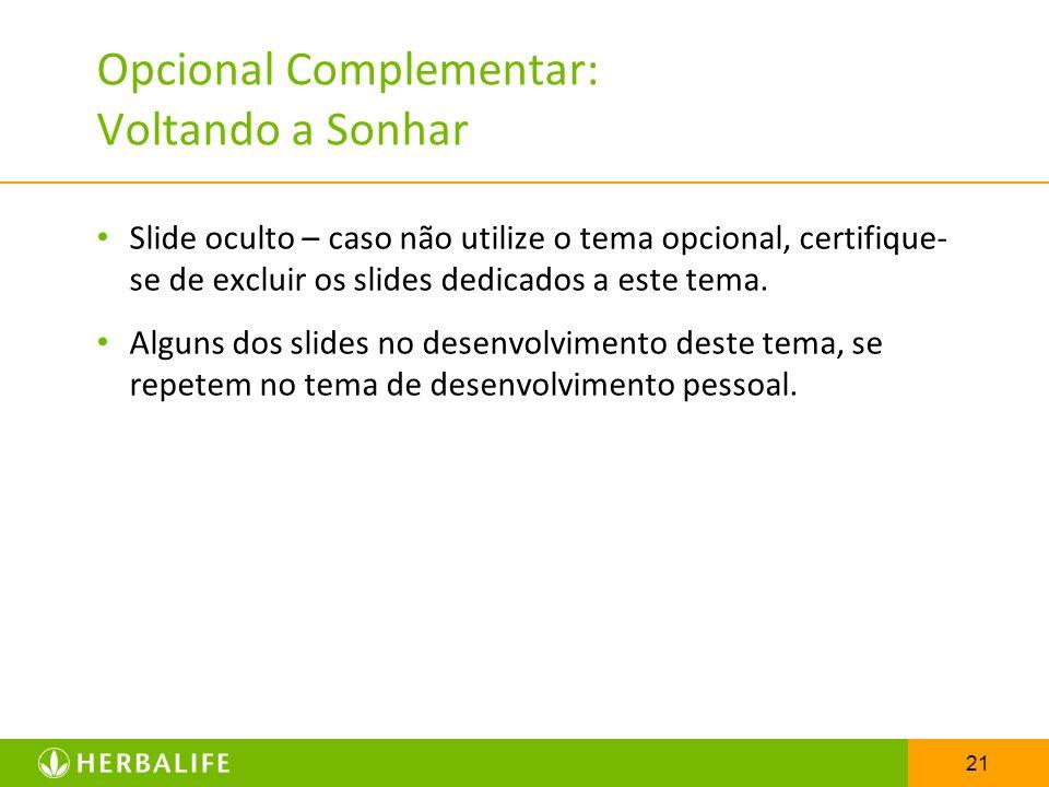 21 Opcional Complementar: Voltando a Sonhar Slide oculto – caso não utilize o tema opcional, certifique- se de excluir os slides dedicados a este tema