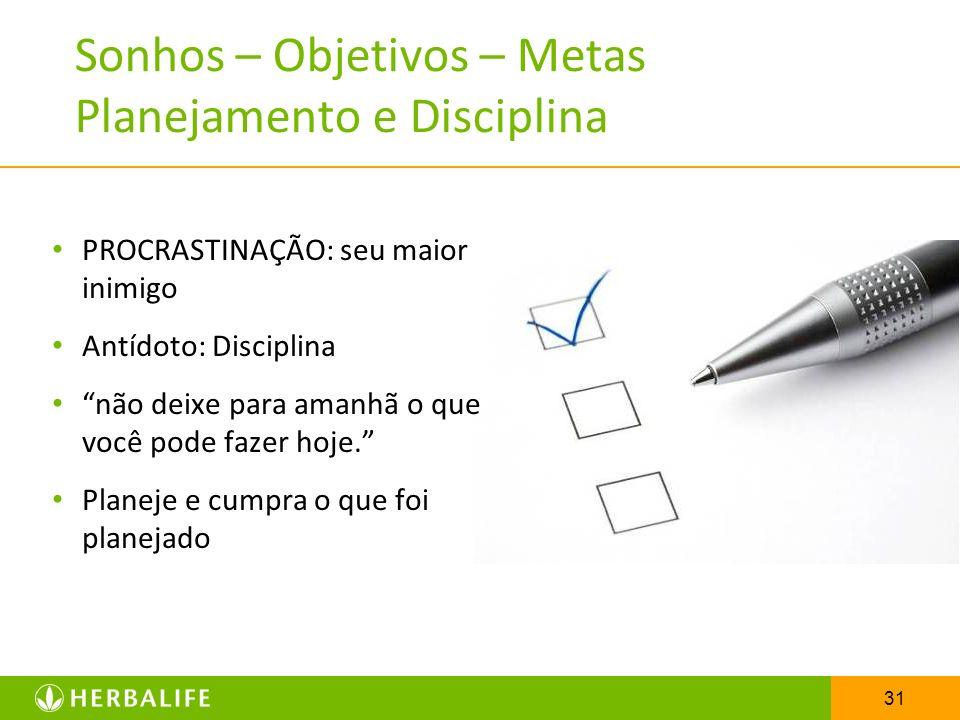 31 Sonhos – Objetivos – Metas Planejamento e Disciplina PROCRASTINAÇÃO: seu maior inimigo Antídoto: Disciplina não deixe para amanhã o que você pode f