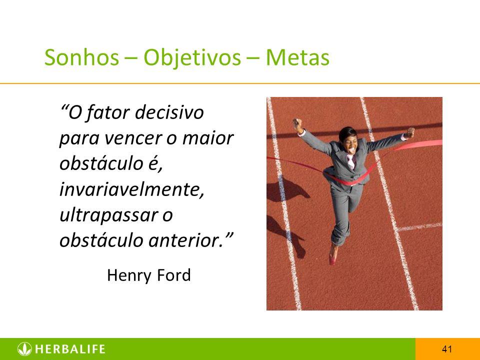 41 Sonhos – Objetivos – Metas O fator decisivo para vencer o maior obstáculo é, invariavelmente, ultrapassar o obstáculo anterior. Henry Ford