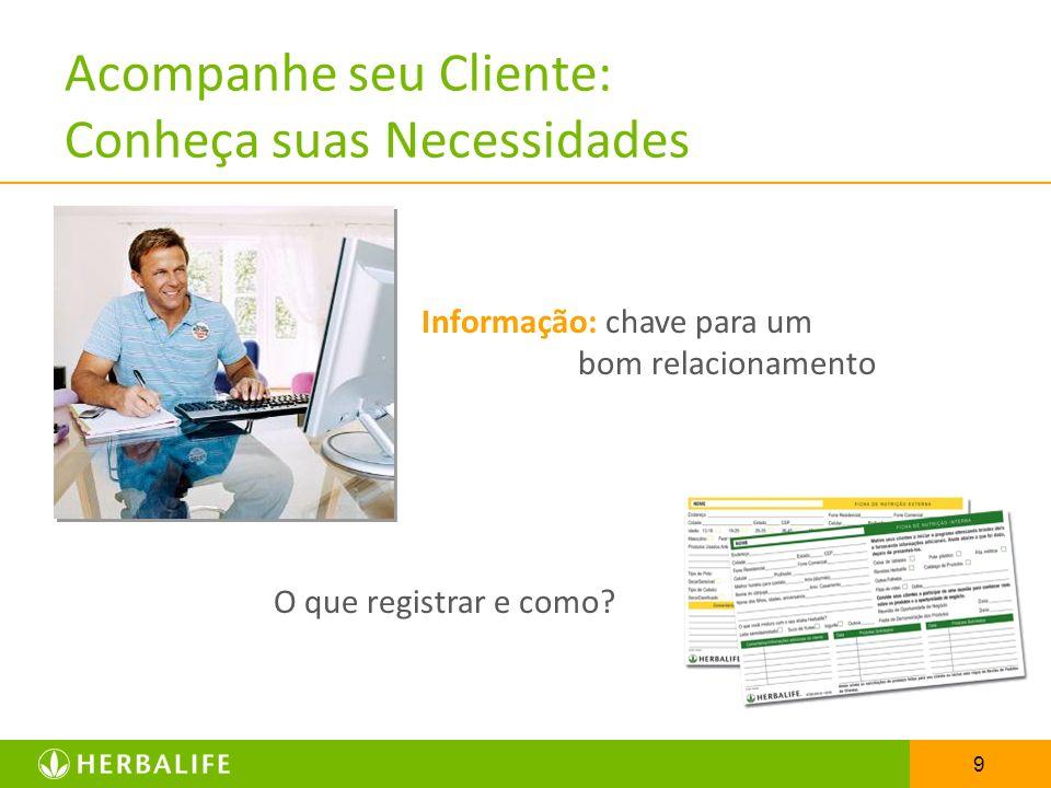 9 Acompanhe seu Cliente: Conheça suas Necessidades Informação: chave para um bom relacionamento O que registrar e como?