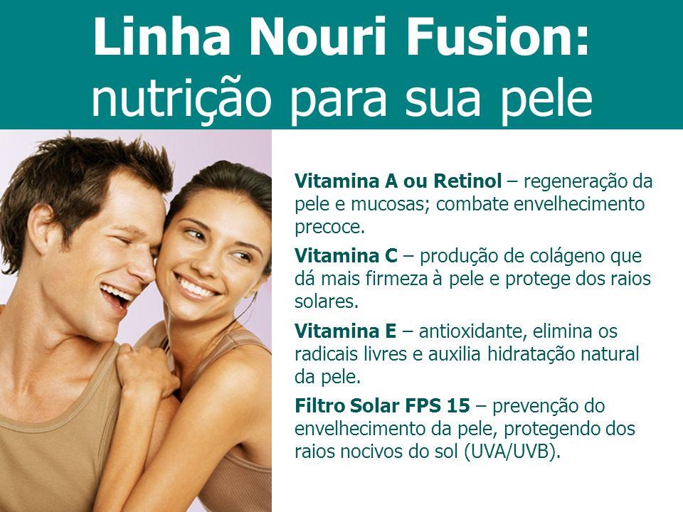 Vitamina A ou Retinol – regeneração da pele e mucosas; combate envelhecimento precoce. Vitamina C – produção de colágeno que dá mais firmeza à pele e
