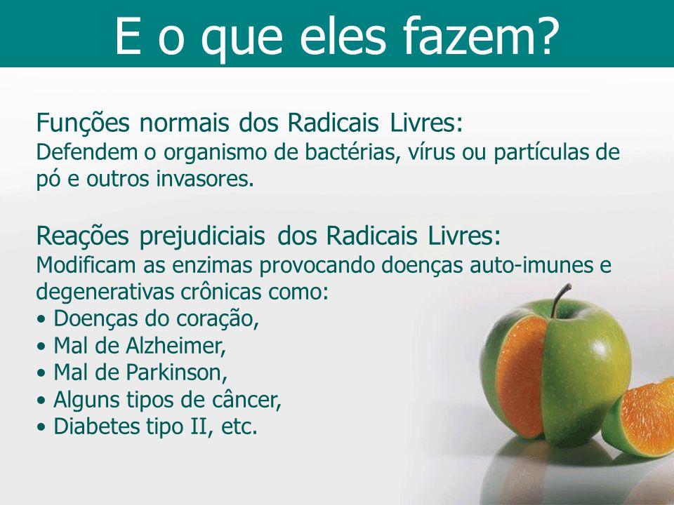 Funções normais dos Radicais Livres: Defendem o organismo de bactérias, vírus ou partículas de pó e outros invasores. Reações prejudiciais dos Radicai