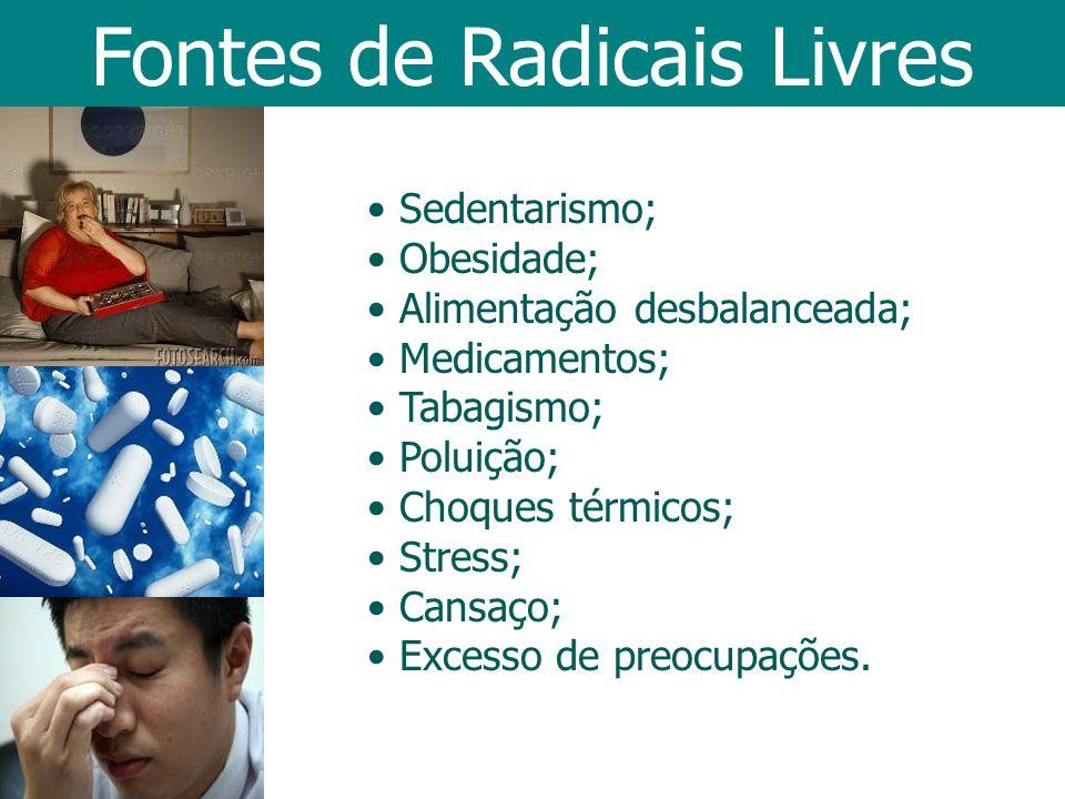 Fontes de Radicais Livres Sedentarismo; Obesidade; Alimentação desbalanceada; Medicamentos; Tabagismo; Poluição; Choques térmicos; Stress; Cansaço; Ex