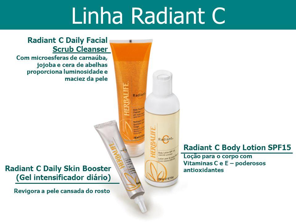 Radiant C Body Lotion SPF15 Loção para o corpo com Vitaminas C e E – poderosos antioxidantes Radiant C Daily Facial Scrub Cleanser Com microesferas de