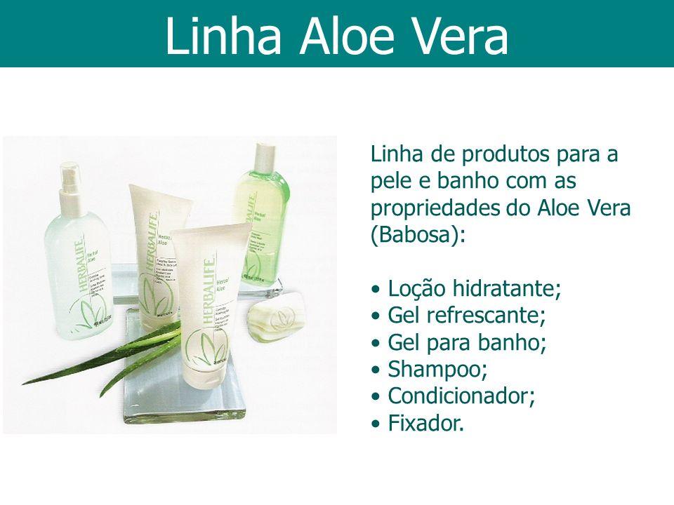 Linha Aloe Vera Linha de produtos para a pele e banho com as propriedades do Aloe Vera (Babosa): Loção hidratante; Gel refrescante; Gel para banho; Sh