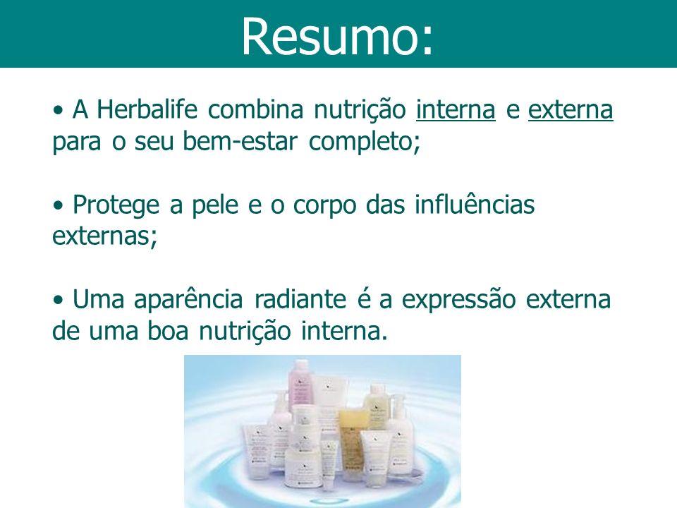 Resumo: A Herbalife combina nutrição interna e externa para o seu bem-estar completo; Protege a pele e o corpo das influências externas; Uma aparência