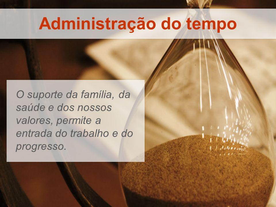 Administração do tempo O suporte da família, da saúde e dos nossos valores, permite a entrada do trabalho e do progresso.