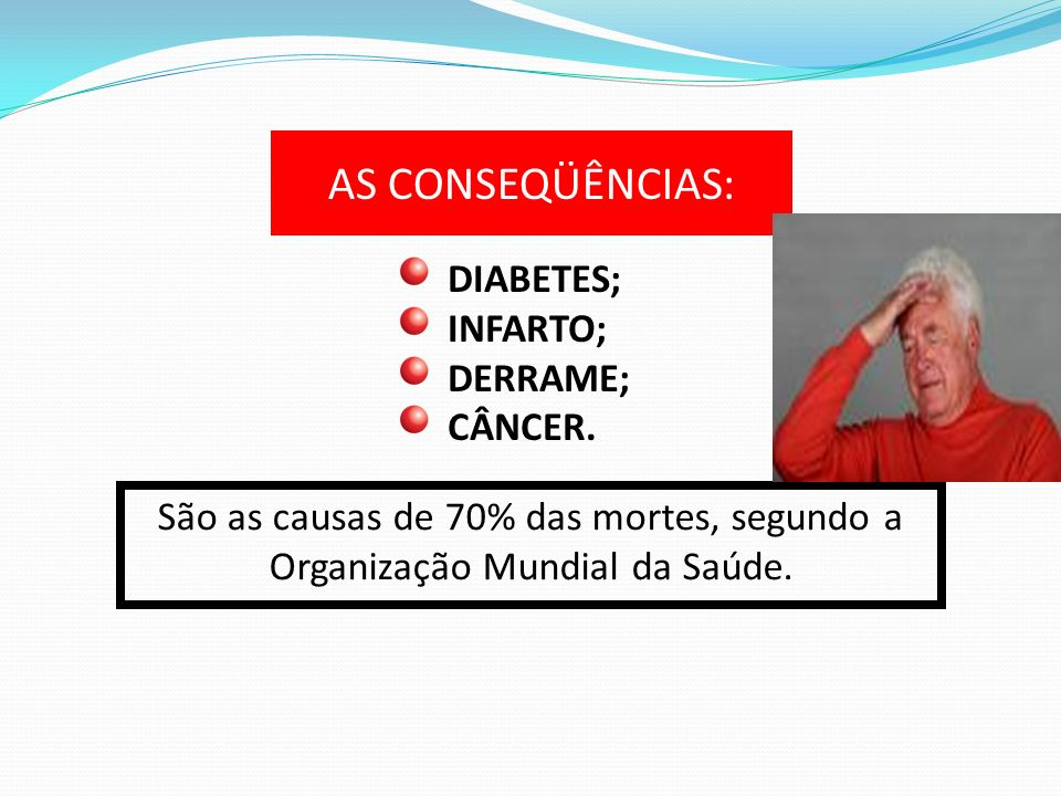 AS CONSEQÜÊNCIAS: DIABETES; INFARTO; DERRAME; CÂNCER. São as causas de 70% das mortes, segundo a Organização Mundial da Saúde.