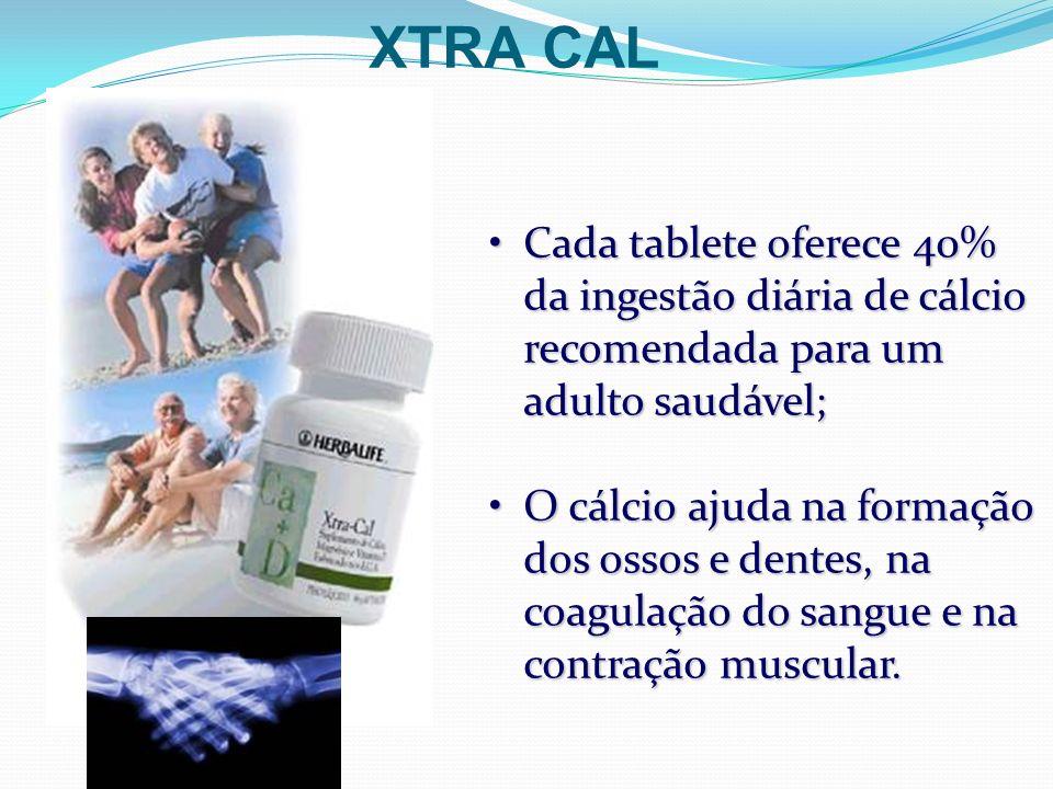 XTRA CAL Cada tablete oferece 40% da ingestão diária de cálcio recomendada para um adulto saudável;Cada tablete oferece 40% da ingestão diária de cálc