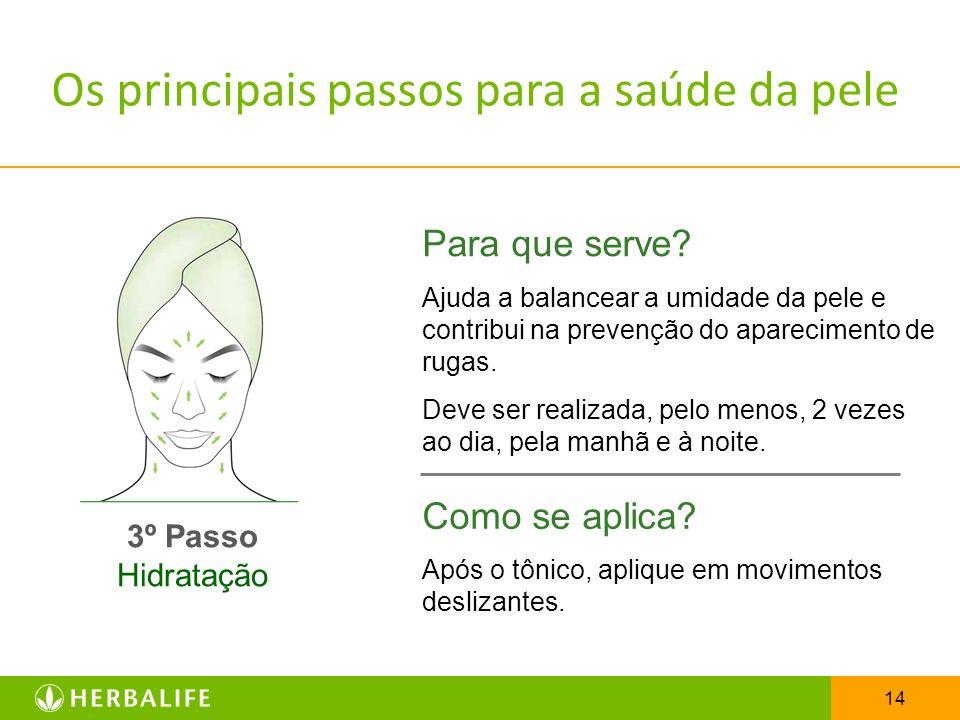14 3º Passo Hidratação Para que serve? Ajuda a balancear a umidade da pele e contribui na prevenção do aparecimento de rugas. Deve ser realizada, pelo